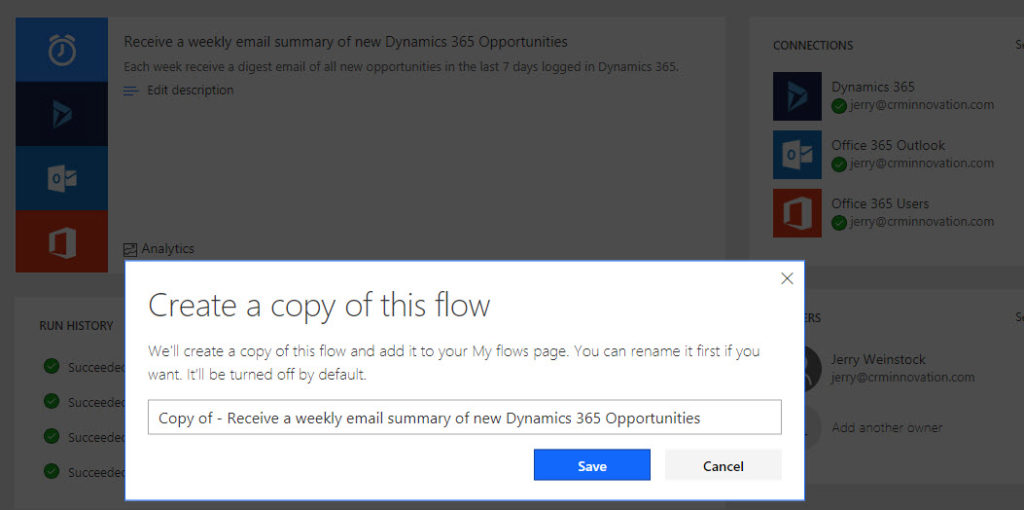 Microsoft Flow Make a Copy