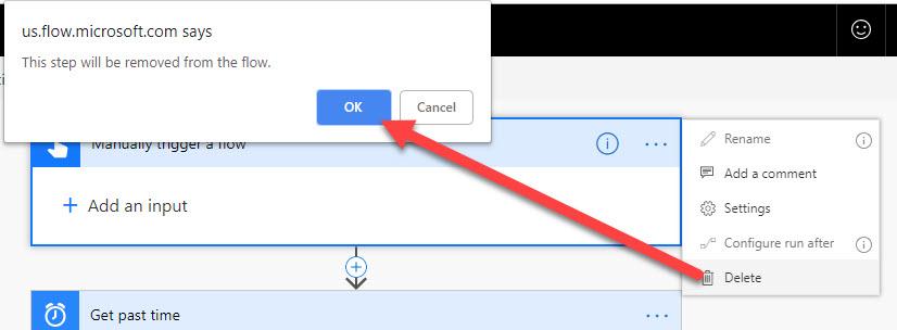 Microsoft Flow Delete a Button Trigger