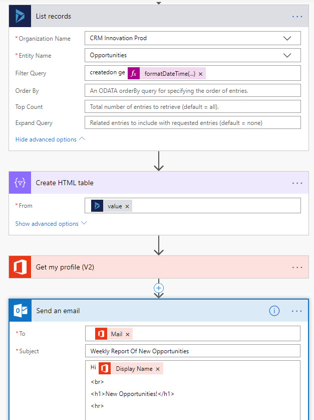 Microsoft Flow Retrieve Filter Records