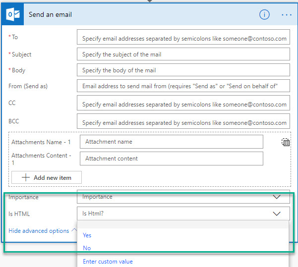 Outlook Flow Action Send Email V1