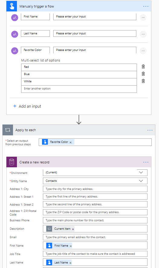 Microsoft Flow Multi Select Options