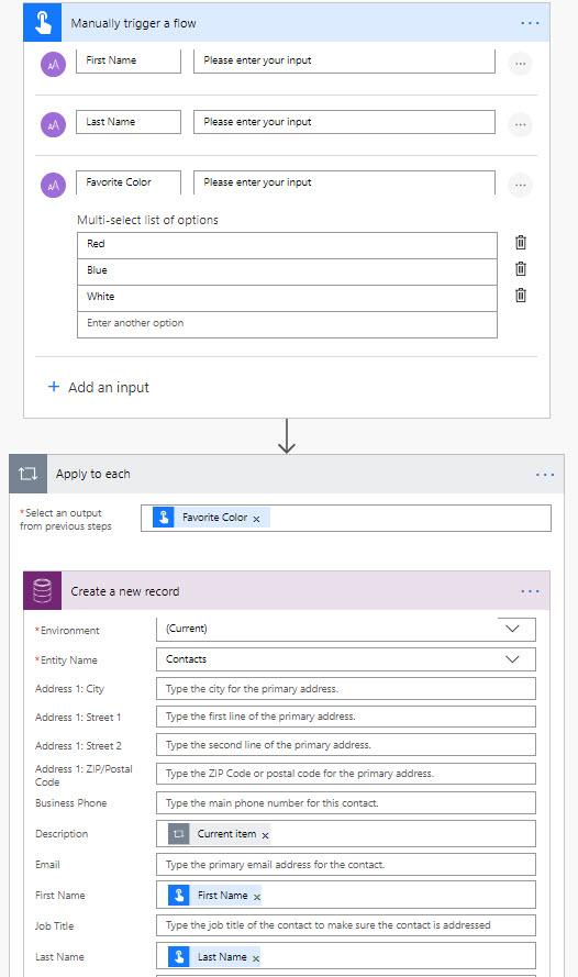 Microsoft Flow Multi Select Options
