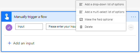 Microsoft Flow Button Multi-Select Input