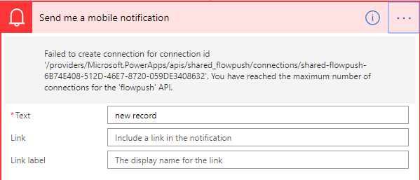 Microsoft Flow Notification Action Error