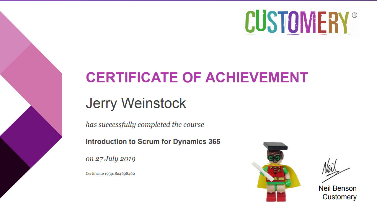 Intro to Scrum for Dynamics 365 completion certificate