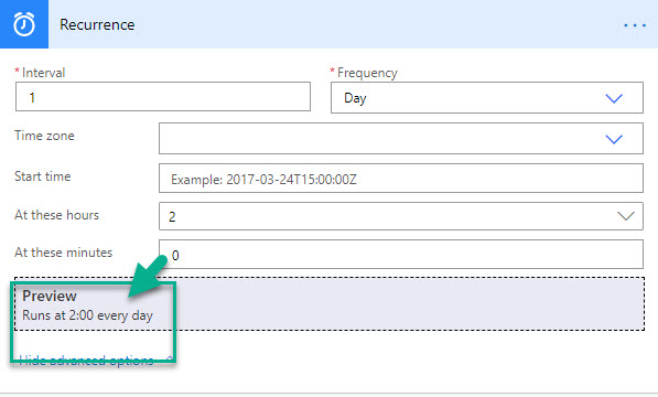 Power Automate Recurrence Hours and Minutes