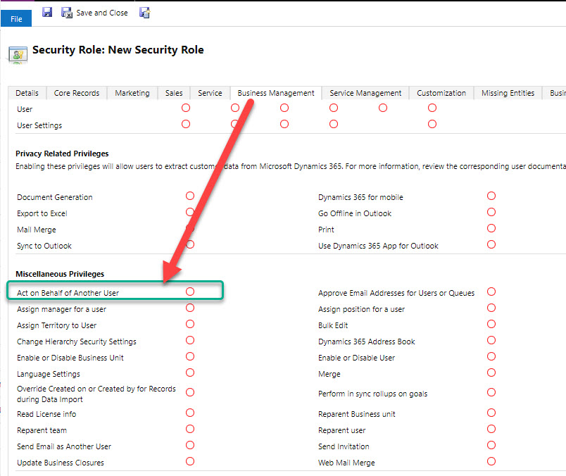 Dataverse Act on Behalf of Another User security privelege